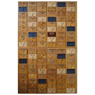 Mid-Century Oak Card Catalog Cabinet
