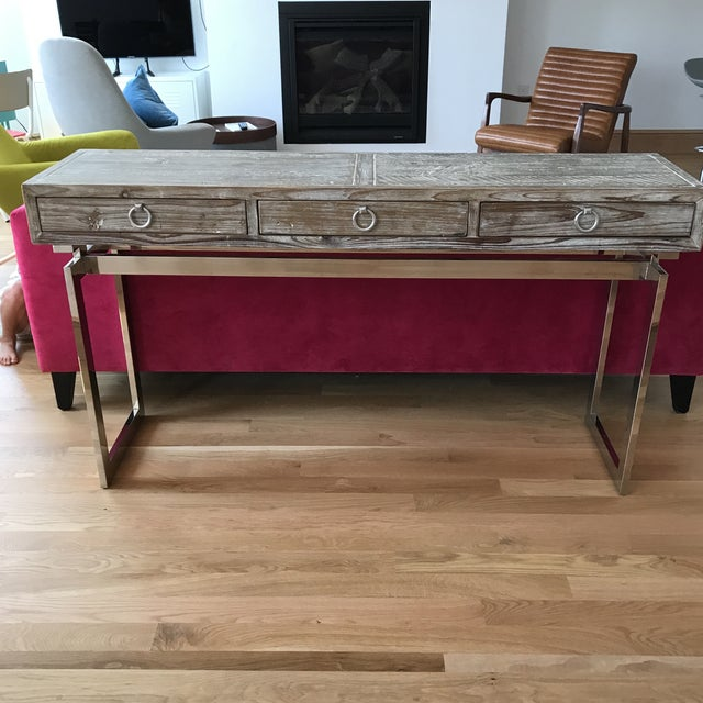 Wooden console table with drawers chairish for Table th width ignored