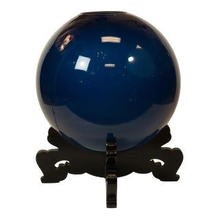 "Peacock Blue Japanese ""Crystal-Ball"" Lamp"