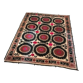 Vintage Uzbek Suzani Hand Embroidered Wall Hanging