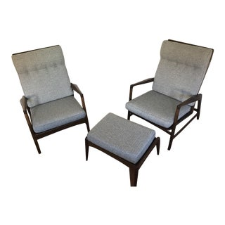 Kofod-Larsen for Selig Reclining Lounge Chairs and Ottoman - Set of 3