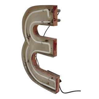 """Vintage Neon Diner Sign, Letter """"E"""""""