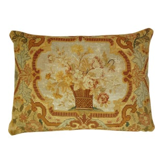 French Antique 1850s Floral Needlepoint Pillow