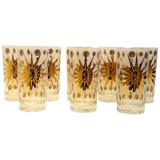 Eight Vintage Fred Press White and Gold Celestial Pattern Tom Collins Glasses