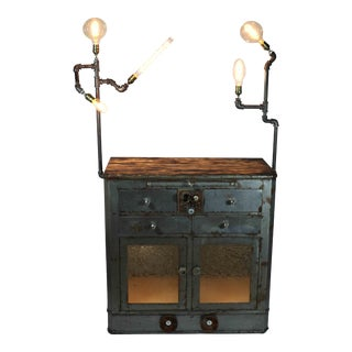 Antique Upcycled Metal Medical Cabinet