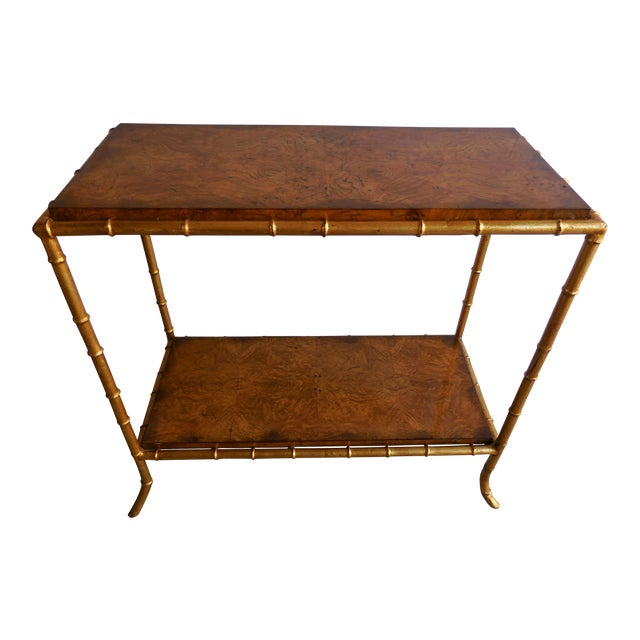 Burlwood & Faux Bamboo Table - Image 1 of 6