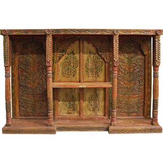 Antique Indian Carved & Painted Hutch Top