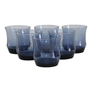 Mid-Century Blue Glass Lowballs - Set of 6