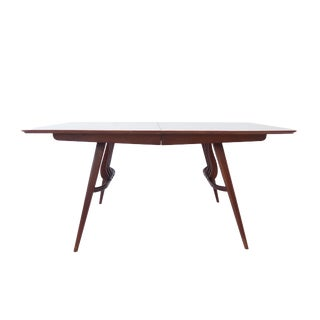 Vintage Mid Century Modern Geometric Walnut Dining Table w/ Leaves