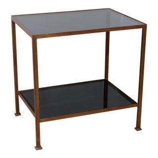 Custom-Made Marcelo Side Table with Dark Grey Glass