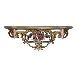 Hollywood Regency Gold Rococo Decor Shelf