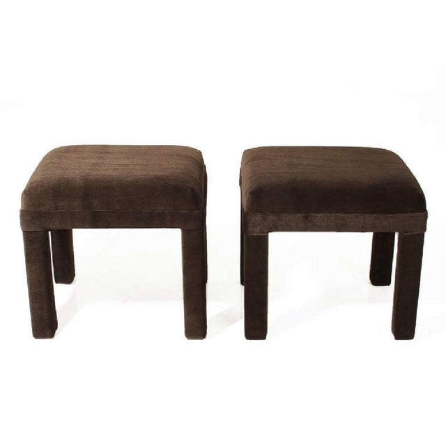 Mid-Century Sorrel Mohair Stools - A Pair - Image 2 of 4
