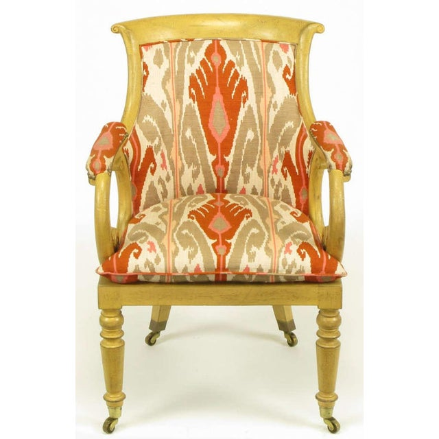 Pair Interior Crafts Regency Scrolled Arm Chairs In Ikat Fabric - Image 4 of 10