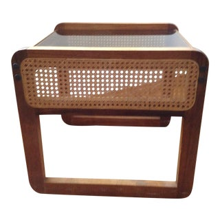 Teak and Rattan Side Table