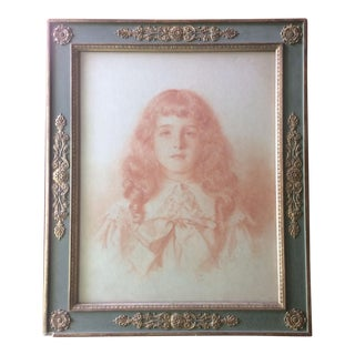 19th C. Curly Haired Girl Portrait