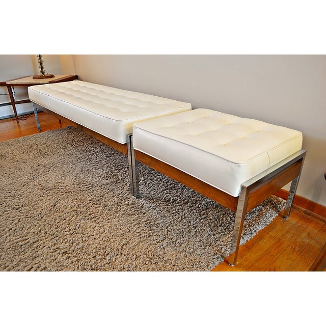1970s Milo Baughman Style Tufted Chrome Bench - Image 2 of 7