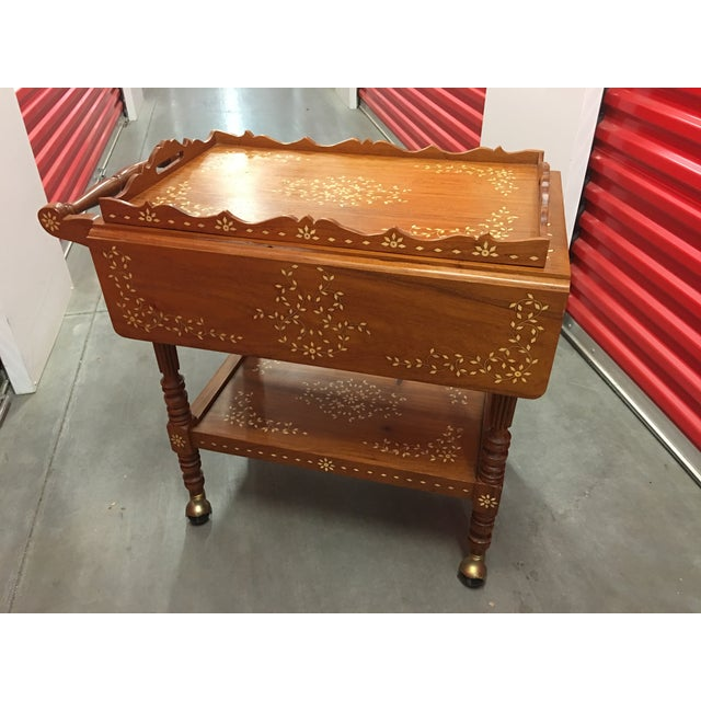 Filipino Drop-Leaf Inlaid Serving Tray Tea Cart - Image 2 of 11