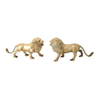 Vintage Brass Lion Figures - A Pair
