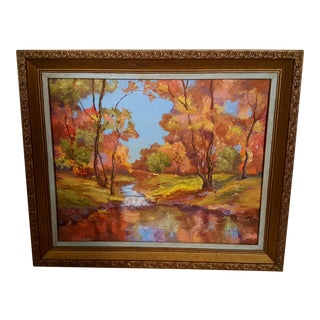 Vintage 1979 Colorful Fall Autumn Landscape Framed Painting Signed