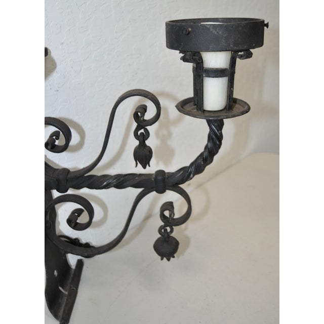 Antique Wrought Iron Wall Sconces - Pair - Image 8 of 8