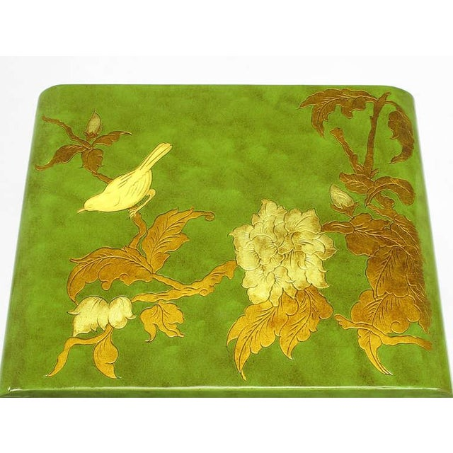 Three Embossed & Parcel Gilt Rich Jade Green Nesting Tables - Image 9 of 10