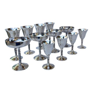 "Vintage Silver Plate Spanish ""Valerio"" Drinks Server Ware- Set of 12"