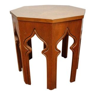 Vintage Octagonal Oak End Table