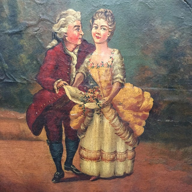 Antique Painted Fireplace Screen - Image 3 of 9