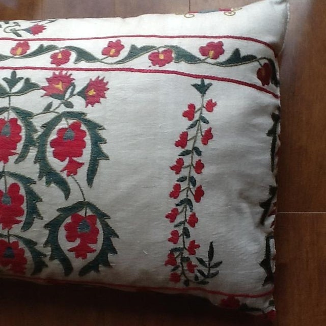 Large Silk Embroidered Pillow - Image 5 of 9