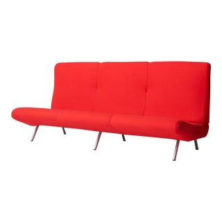 Marco zanuso sofa in cherry red wool