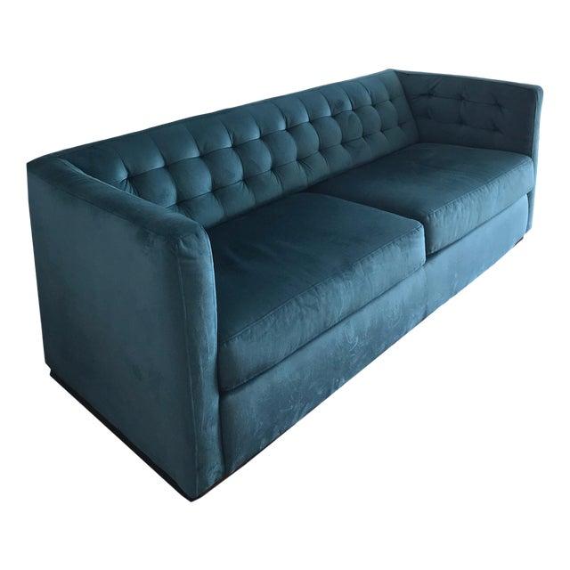 Blue Teal Tufted Velvet Upholstered Sofa Sleeper Bed Couch Chairish - Tufted upholstered sofa