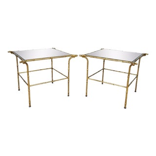Vintage Italian Hollywood Regency Faux Bamboo Gold Gilt Mirror Side Tables - A Pair