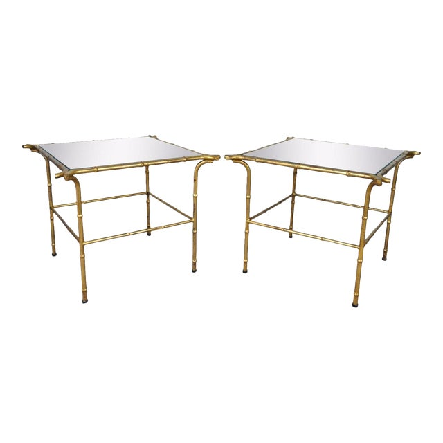 Vintage Italian Hollywood Regency Faux Bamboo Gold Gilt Mirror Side Tables - A Pair - Image 1 of 11