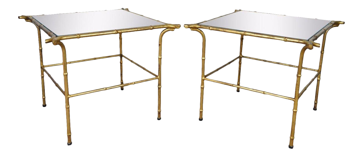 Vintage Italian Hollywood Regency Faux Bamboo Gold Gilt Mirror Side Tables    A Pair