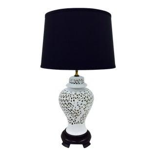 Vintage White Pierced Porcelain Blanc De Chine Lamp