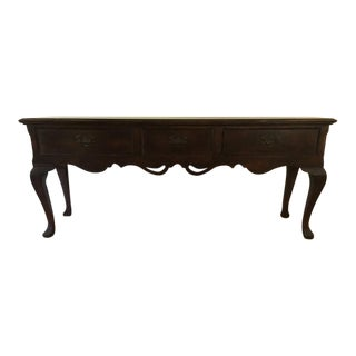 Vintage Carved Wood 3-Drawer Console Table