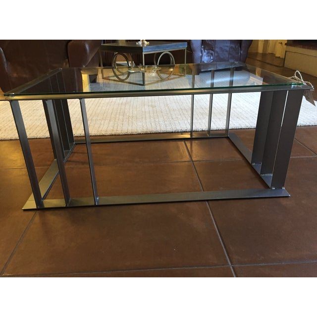 Offset Corner Steel & Glass Coffee Table - Image 3 of 4