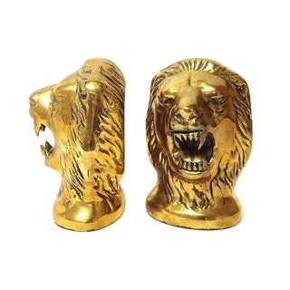 Vintage Brass Roaring Lions Head Bookends - A Pair