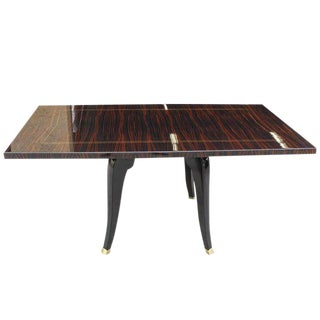 Circa 1940's French Art Deco Macassar Ebony Dining Table