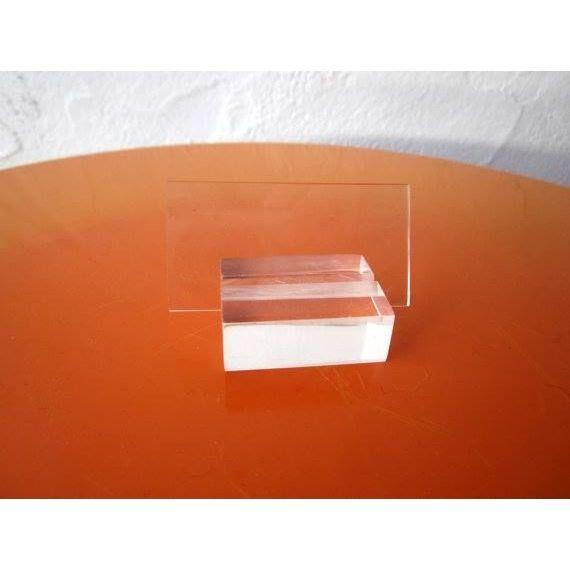 Lucite desk business card or place card holder set chairish for Lucite business card holder