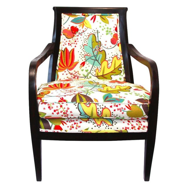 Wood Armchair in Floral Upholstery | Chairish