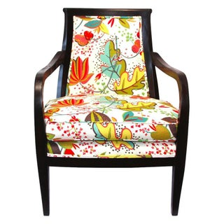Wood Armchair in Floral Upholstery