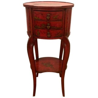 Antique Tomato Red and Gold Chinoiserie Side Table
