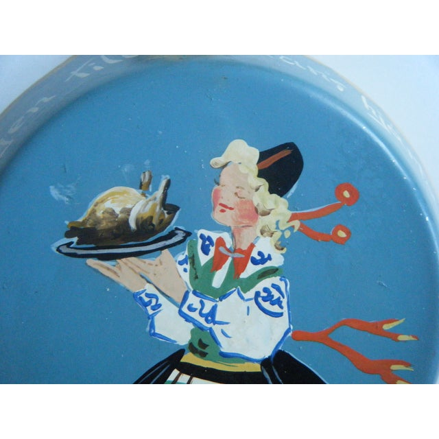 Image of Vintage Swedish Blue Hand-Painted Tin Hanging Pan