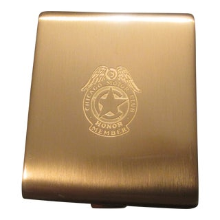 Vintage Gold Brass Chicago Motor Club Cigarette Case