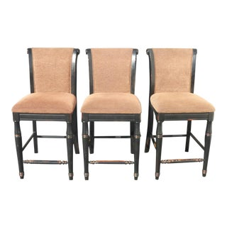 Black & Beige Distressed Bar Stools - Set of 3