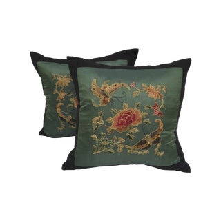 Embroidered Butterfly Silk Pillows - A Pair
