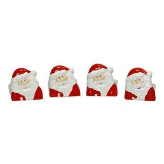 Porcelain Santa Claus Napkin Rings - Set of 4