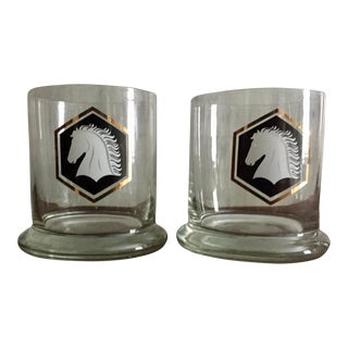 Vintage Black and Gold Horse Glasses - A Pair