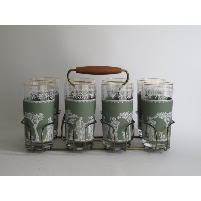 Neoclassical High Ball Glasses & Caddy - Set of 9 - Image 2 of 9